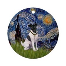 Starry Night and Fox Terrier Ornament (Round)