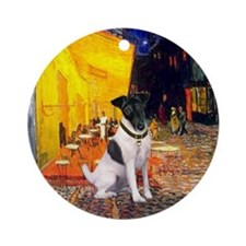Cafe and Smooth Fox Terrier Ornament (Round)