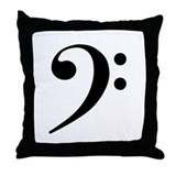 Bass clef Throw Pillows