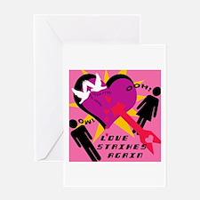 LOVE STRIKES AGAIN Blank Greeting Card