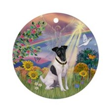 Cloud Angel & Smooth Fox Terrier Ornament (Round)