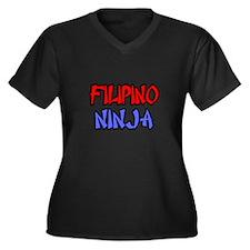 """Filipino Ninja"" Women's Plus Size V-Neck Dark T-S"