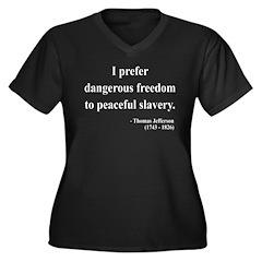 Thomas Jefferson 15 Women's Plus Size V-Neck Dark