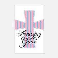 Amazing Grace Cross Rectangle Decal