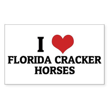 I Love Florida Cracker Horses Sticker (Rectangular