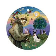 Saint Francis & Rat Terrier Ornament (Round)