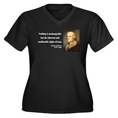 Thomas Jefferson 20 Women's Plus Size V-Neck Dark