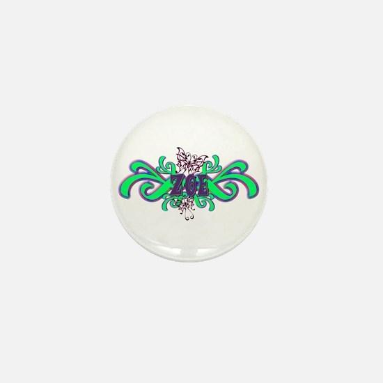 Zoe's Purple-Green Butterfly Mini Button