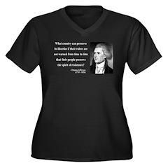 Thomas Jefferson 25 Women's Plus Size V-Neck Dark