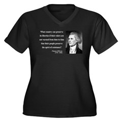 Thomas Jefferson 25 Women's Plus Size V-Neck Dark