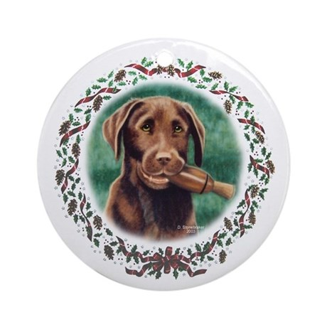 Chocolate Lab Holiday Ornament (Round)