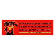Obey the Doberman- Honor Student Bumper Sticker