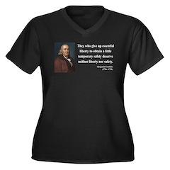 Benjamin Franklin 1 Women's Plus Size V-Neck Dark