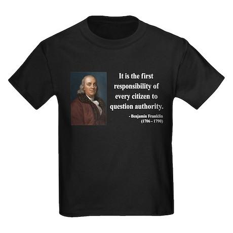 Benjamin Franklin 17 Kids Dark T-Shirt