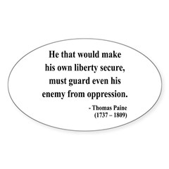 Thomas Paine 3 Oval Decal