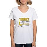 Childhood cancer gold ribbon Womens V-Neck T-shirts