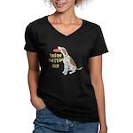 red tick hound begging Women's V-Neck Dark T-Shirt