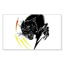 Black Panther with Flames Rectangle Decal