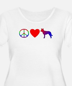 Peace Love Australian Kelpie Women's Plus Size Tee