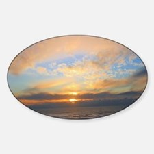 Sunset on the Pacific Ocean Oval Decal