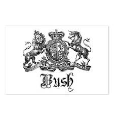 Bush Vintage Last Name Crest Postcards (Package of