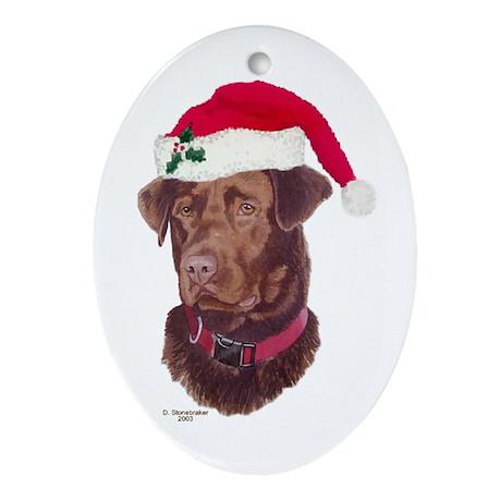 Chocolate Lab Christmas Oval Ornament