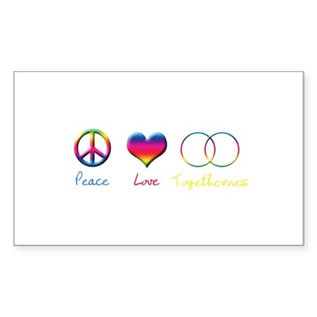 Peace Love Togetherness Rectangle Sticker