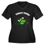 Valentine Women's Plus Size V-Neck Dark T-Shirt