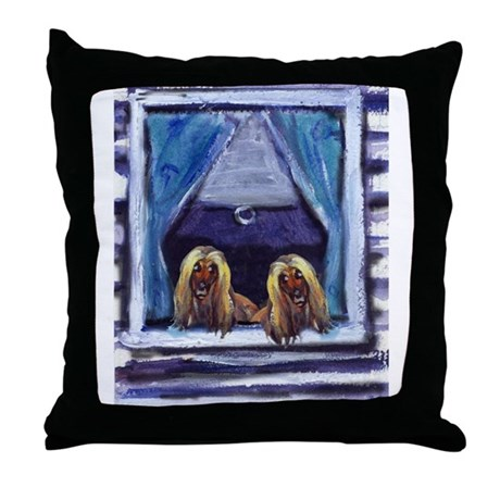 AFGHAN HOUND window Throw Pillow