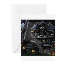 FLATTIE halloween house Greeting Cards (Package of