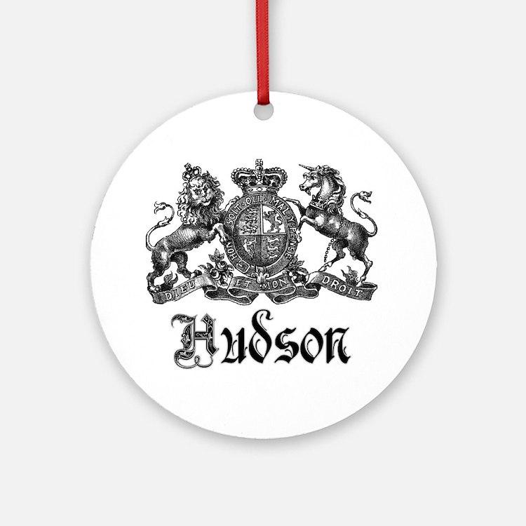 Hudson Vintage Crest Last Name Ornament (Round)