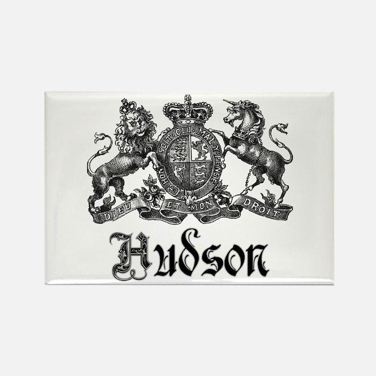 Hudson Vintage Crest Last Name Rectangle Magnet