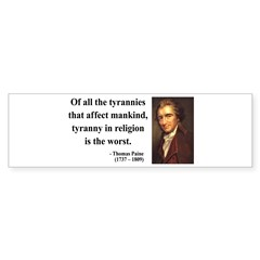 Thomas Paine 21 Bumper Sticker