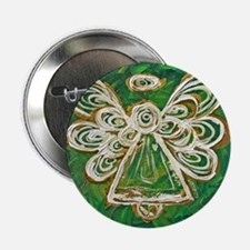 """Green Angel Painting 2.25"""" Button"""