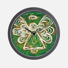 Green Angel Painting Wall Clock