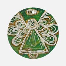 Green Angel Painting Ornament (Round)