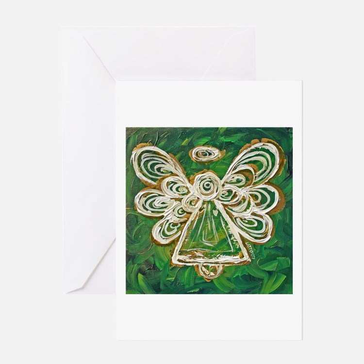 Green Angel Painting Greeting Card
