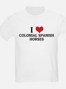 I Love Colonial Spanish Horse Kids T-Shirt