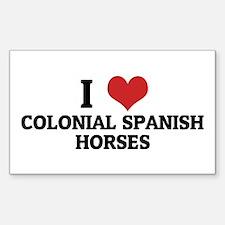 I Love Colonial Spanish Horse Sticker (Rectangular