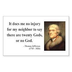 Thomas Jefferson 9 Rectangle Decal