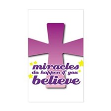 Miracles Happen Cross Rectangle Decal