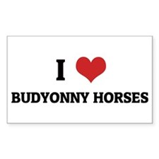 I Love Budyonny Horses Rectangle Decal