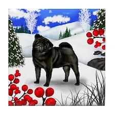 BLACK PUG DOG WINTER BERRIES Tile Coaster