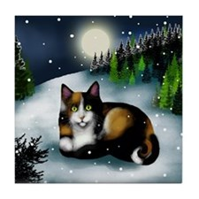 CALICO CAT WINTER MOON Tile Coaster