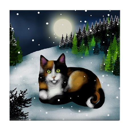 CALICO CAT WINTER MOON Tile Coaster