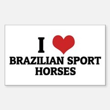 I Love Brazilian Sport Horses Sticker (Rectangular