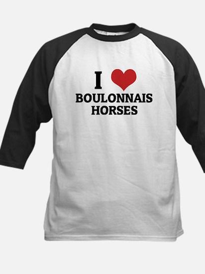 I Love Boulonnais Horses Kids Baseball Jersey