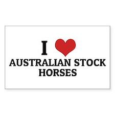 I Love Australian Stock Horse Sticker (Rectangular