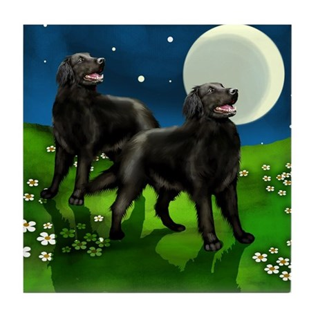 FLAT COATED RETRIEVER DOGS FULL MOON Tile Coaster