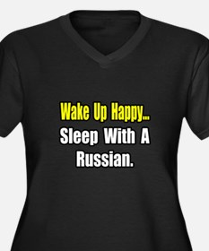 """""""...Sleep With a Russian"""" Women's Plus Size V-Neck"""